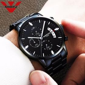 NIBOSI Jam Tangan Kasual Pria - 2309-2 - Black/Silver - 3