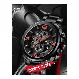 NIBOSI Jam Tangan Casual Sporty Pria - 2336 - Black/Silver - 2