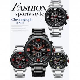 NIBOSI Jam Tangan Casual Sporty Pria - 2336 - Black/Silver - 7