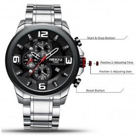 NIBOSI Jam Tangan Casual Sporty Pria - 2336 - Black/Silver - 9