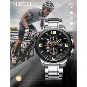 NIBOSI Jam Tangan Casual Sporty Pria - 2336 - Black/Silver - 11