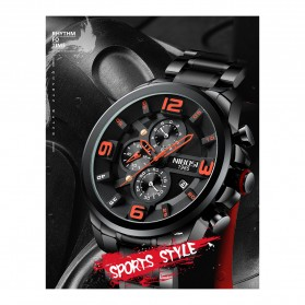 NIBOSI Jam Tangan Casual Sporty Pria - 2336 - Black - 2