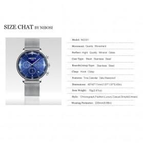 NIBOSI Jam Tangan Crystal Dome Chronograph Pria - 2331 - Black - 8