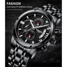 NIBOSI Jam Tangan Kasual Pria Stainless Steel - 2356 - Silver Black - 2