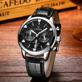 Cadisen Jam Tangan Analog Chrono Pria Leather Strap - C9011 - Silver - 2