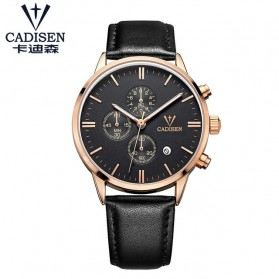 Cadisen Jam Tangan Kulit Analog Chrono Pria - 9201 - Rose Gold/Black