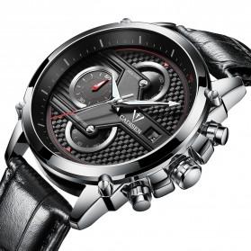 CADISEN Jam Tangan Chronograph Leather Pria - C9018 - Black/Silver - 2