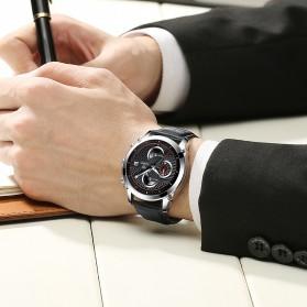 CADISEN Jam Tangan Chronograph Leather Pria - C9018 - Black/Silver - 3