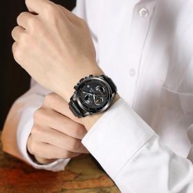 CADISEN Jam Tangan Chronograph Leather Pria - C9018 - Black/Silver - 4