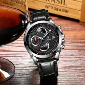 CADISEN Jam Tangan Chronograph Leather Pria - C9018 - Black/Silver - 5