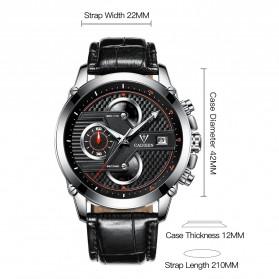 CADISEN Jam Tangan Chronograph Leather Pria - C9018 - Black/Silver - 6
