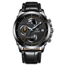 CADISEN Jam Tangan Chronograph Leather Pria - C9018 - Black