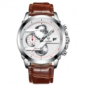 CADISEN Jam Tangan Chronograph Leather Pria - C9018 - Brown d94c749923