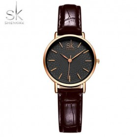 Shengke Jam Tangan Wanita Quartz Femme PU Leather - K0006 - Black/Brown