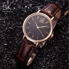 Shengke Jam Tangan Wanita Quartz Femme PU Leather - K0006 - Black/Brown - 2