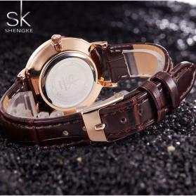 Shengke Jam Tangan Wanita Quartz Femme PU Leather - K0006 - Black/Brown - 3