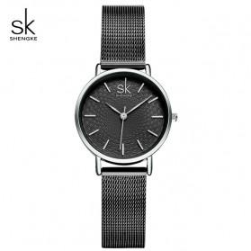 Shengke Jam Tangan Wanita Quartz Femme Stainless Steel - K0006 - Black