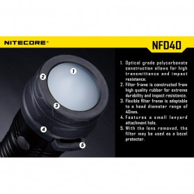 NITECORE Beam Diffuser Senter LED for Flashlights 34mm - NFD34 - Black - 4