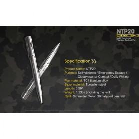 NITECORE Titanium Tactical Pen Self Defense - NTP20 - Silver - 9
