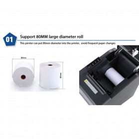 HSPOS POS Thermal Receipt Label Printer 80mm USB + WiFi + Bluetooth - HS-802UWB - Black - 7