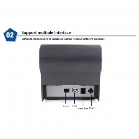 HSPOS POS Thermal Receipt Label Printer 80mm USB + WiFi + Bluetooth - HS-802UWB - Black - 8