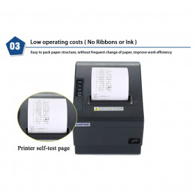 HSPOS POS Thermal Receipt Label Printer 80mm USB + WiFi + Bluetooth - HS-802UWB - Black - 9