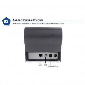HSPOS POS Thermal Receipt Label Printer 80mm USB + Serial + LAN - HS-802USL - Black - 8
