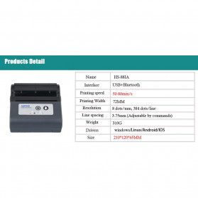 HSPOS Mini Portable Bluetooth Thermal Receipt Label Printer 80mm - HS-88AI - Black - 6