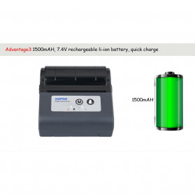 HSPOS Mini Portable Bluetooth Thermal Receipt Label Printer 80mm - HS-88AI - Black - 9