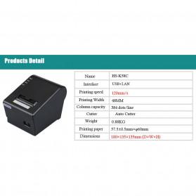 HSPOS POS Thermal Receipt Label Printer 58mm USB + LAN - HS-K58CUL - Black - 6