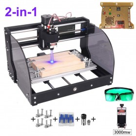 TwoWin CNC Printer 3D Ukir Kayu Laser Engraving Machine Kit DIY 3-Axis with Laser 3000mW - CNC3018
