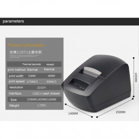 Gprinter Thermal Barcode Printer USB 127mm/s - GP2120TU - Black - 5