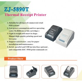 Zjiang POS Thermal Receipt Printer 58mm - ZJ-5890T - Black - 7