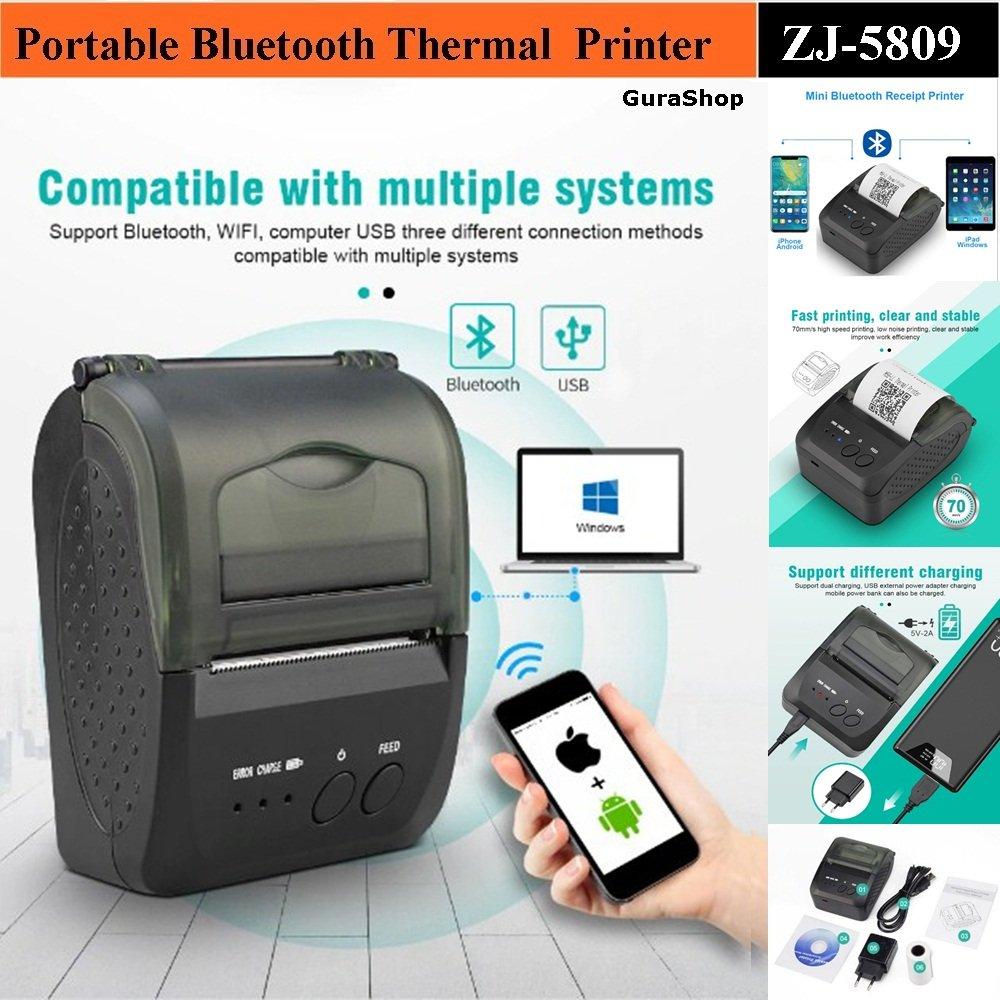Zjiang Mini Portable Bluetooth Thermal Receipt Printer 5809 Black Jakartanotebook Com