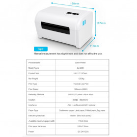 Zjiang POS Thermal Receipt Label Printer 110mm - ZJ-9200 - White - 12