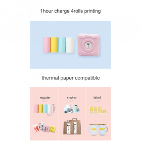 GOOJPRT PeriPage Inkless Pocket Photo Printer A6 304DPI with 3 Roll Paper - White - 9