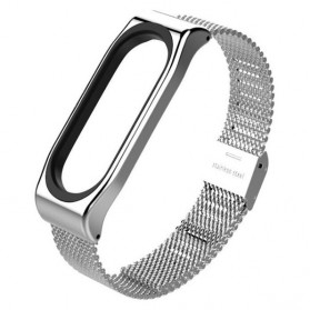 Mijobs Milanese Strap Watchband Stainless Steel for Xiaomi Mi Band 3 - Silver