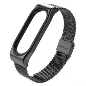 Mijobs Milanese Strap Watchband Stainless Steel for Xiaomi Mi Band 3 - Black
