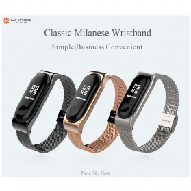 Mijobs Milanese Strap Watchband Stainless Steel for Xiaomi Mi Band 3 - Black - 2