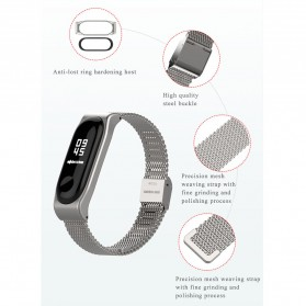 Mijobs Milanese Strap Watchband Stainless Steel for Xiaomi Mi Band 3 - Black - 3