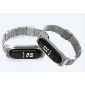 Mijobs Milanese Strap Watchband Stainless Steel for Xiaomi Mi Band 3 - Black - 6