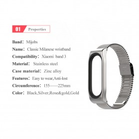 Mijobs Milanese Strap Watchband Stainless Steel for Xiaomi Mi Band 3 - Black - 7