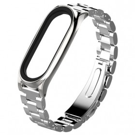 Mijobs 3 Point Strap Watchband Stainless Steel for Xiaomi Mi Band 3 - Silver