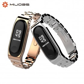 Mijobs 3 Point Strap Watchband Stainless Steel for Xiaomi Mi Band 3 - Silver - 2