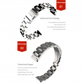Mijobs 3 Point Strap Watchband Stainless Steel for Xiaomi Mi Band 3 - Silver - 3