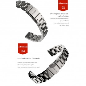 Mijobs 3 Point Strap Watchband Stainless Steel for Xiaomi Mi Band 3 - Silver - 4
