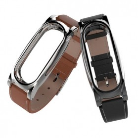 Mijobs Strap Watchband Kulit PU Leather for Xiaomi Mi Band 3 - Silver - 3