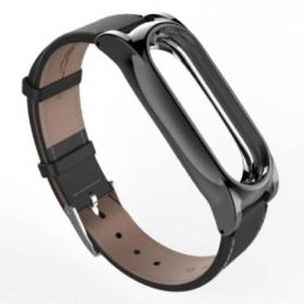 Mijobs Strap Watchband Kulit PU Leather for Xiaomi Mi Band 3/4 - Black