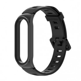 Mijobs Sport Strap Watchband Silicone for Xiaomi Mi Band 3 - Black