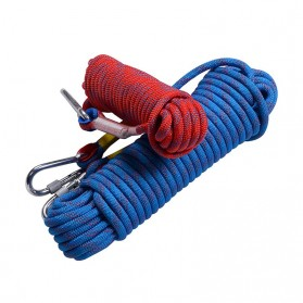Tali Paracord Panjang Tebing Climbing Rope 10mm 20 Meter with Steel Buckle - 24KN - Blue - 3